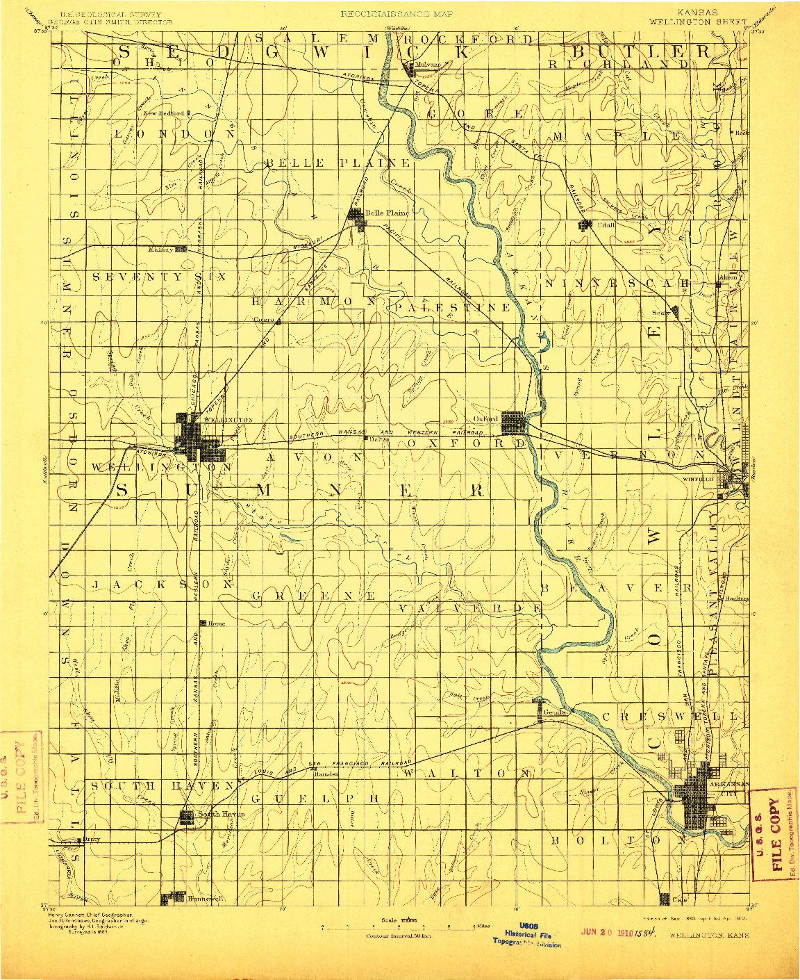 USGS 1:125000-SCALE QUADRANGLE FOR WELLINGTON, KS 1890