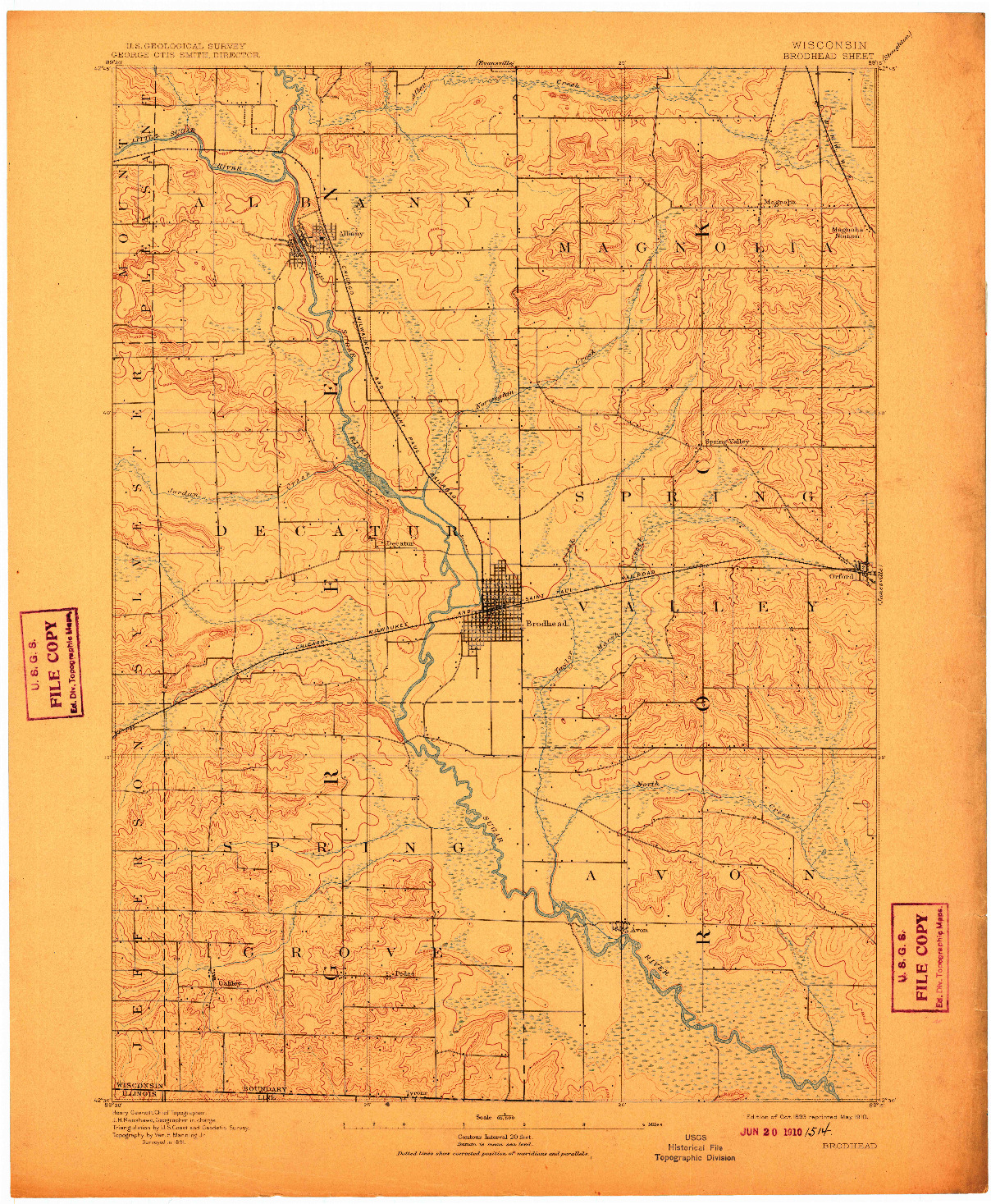 USGS 1:62500-SCALE QUADRANGLE FOR BRODHEAD, WI 1893