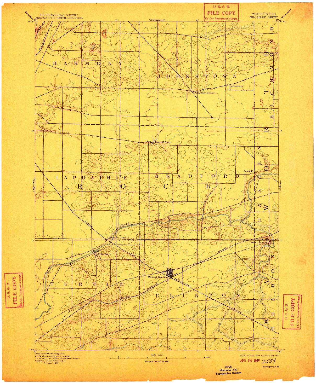 USGS 1:62500-SCALE QUADRANGLE FOR SHOPIERE, WI 1893
