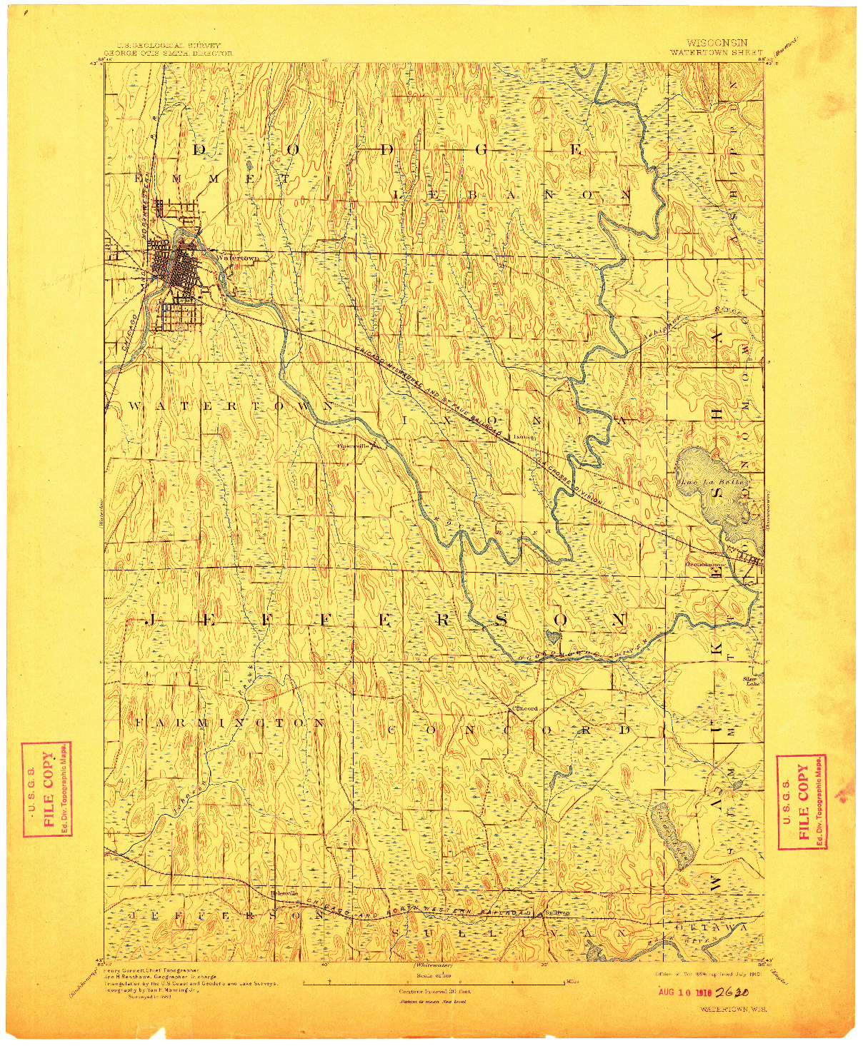 USGS 1:62500-SCALE QUADRANGLE FOR WATERTOWN, WI 1894