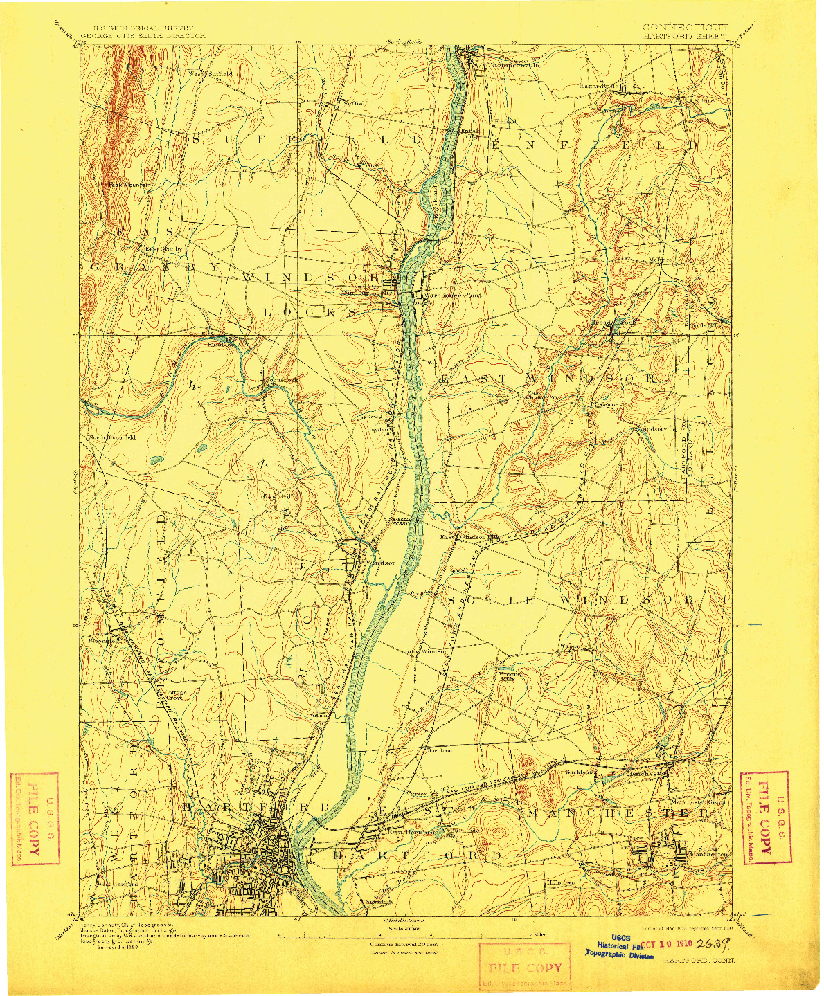 USGS 1:62500-SCALE QUADRANGLE FOR HARTFORD, CT 1892