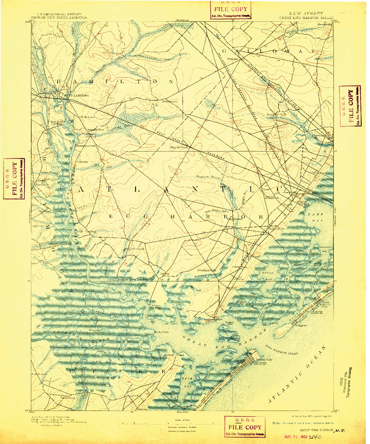 USGS 1:62500-SCALE QUADRANGLE FOR GREAT EGG HARBOR, NJ 1893