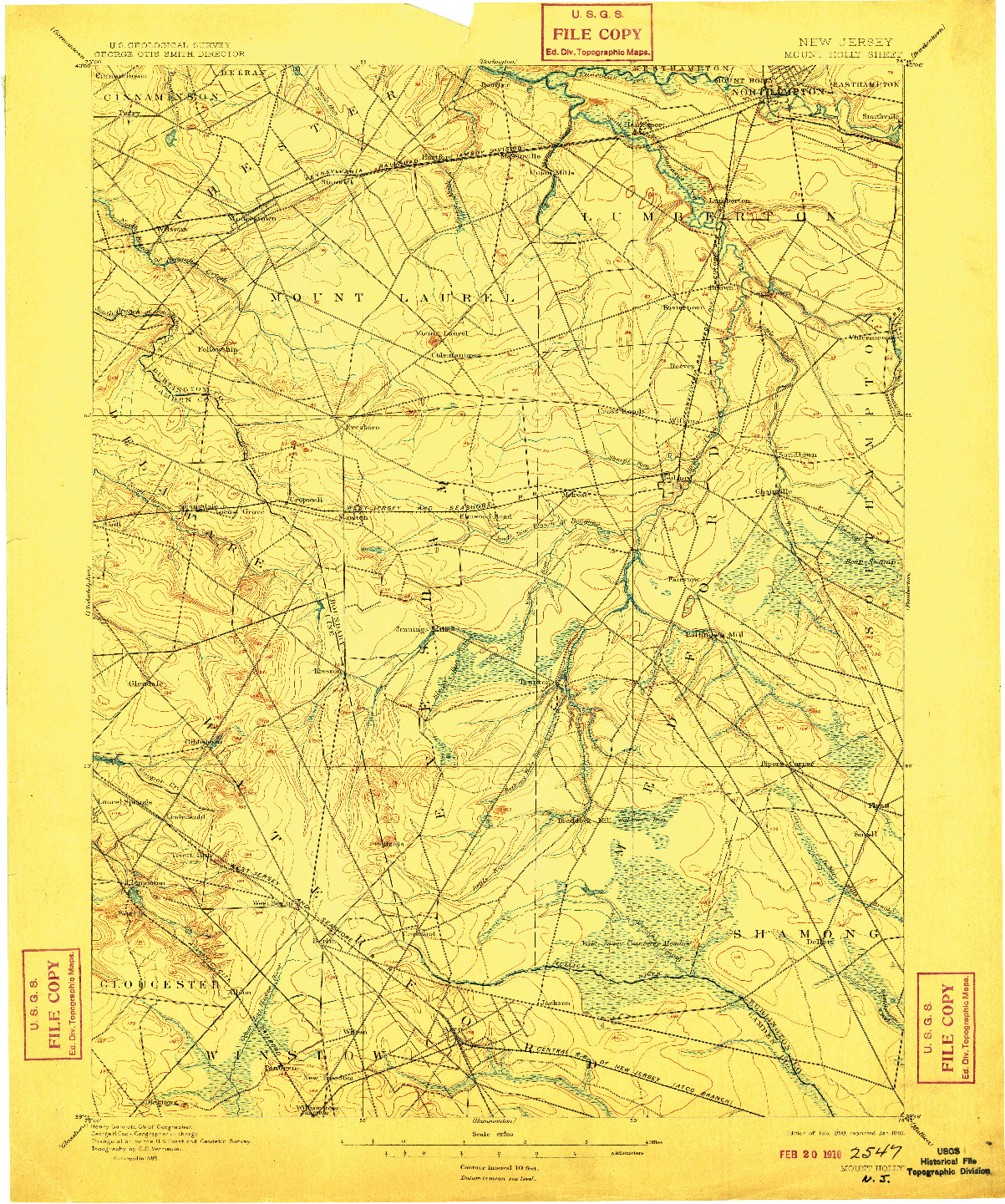 USGS 1:62500-SCALE QUADRANGLE FOR MOUNT HOLLY, NJ 1898