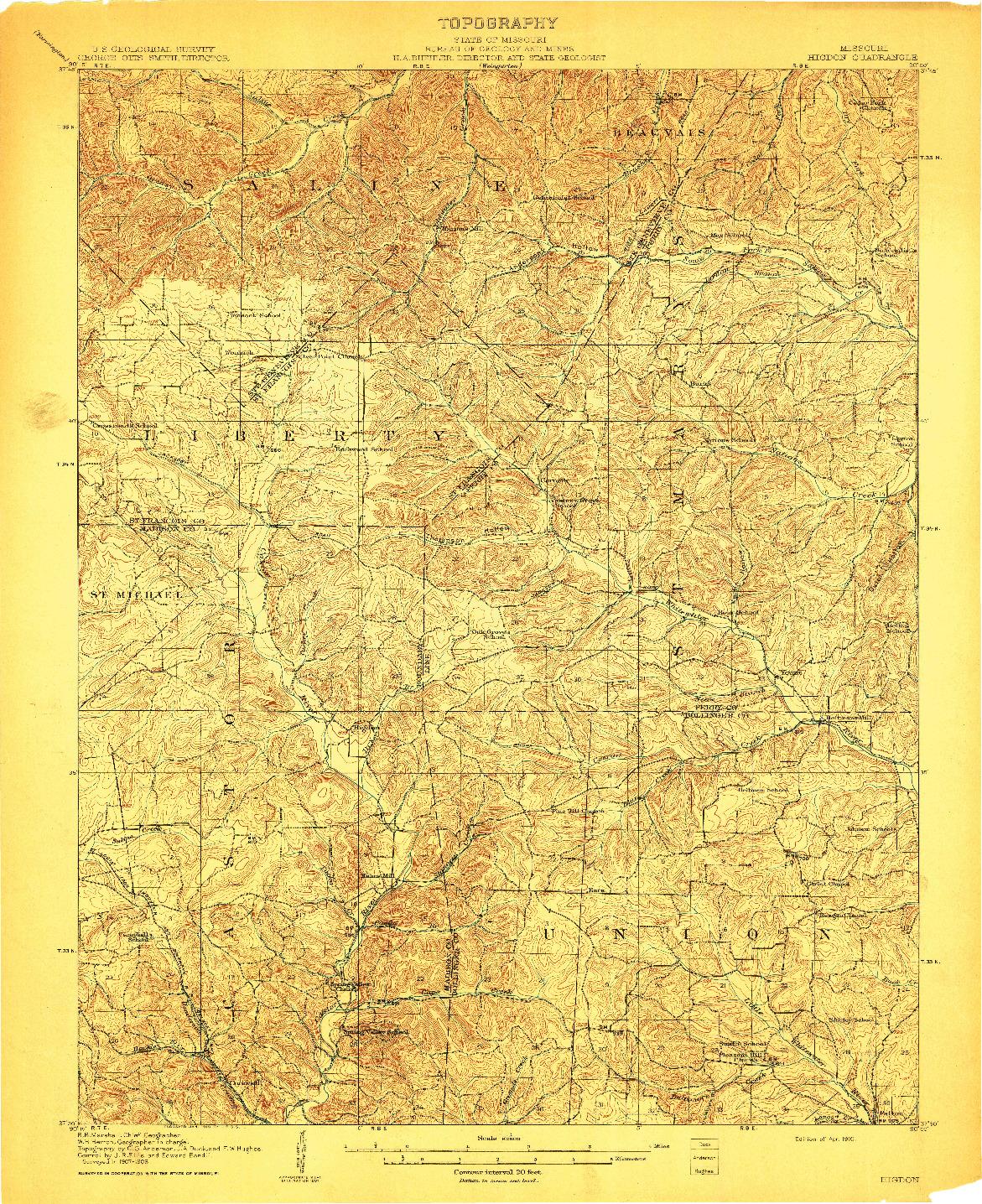 USGS 1:62500-SCALE QUADRANGLE FOR HIGDON, MO 1910