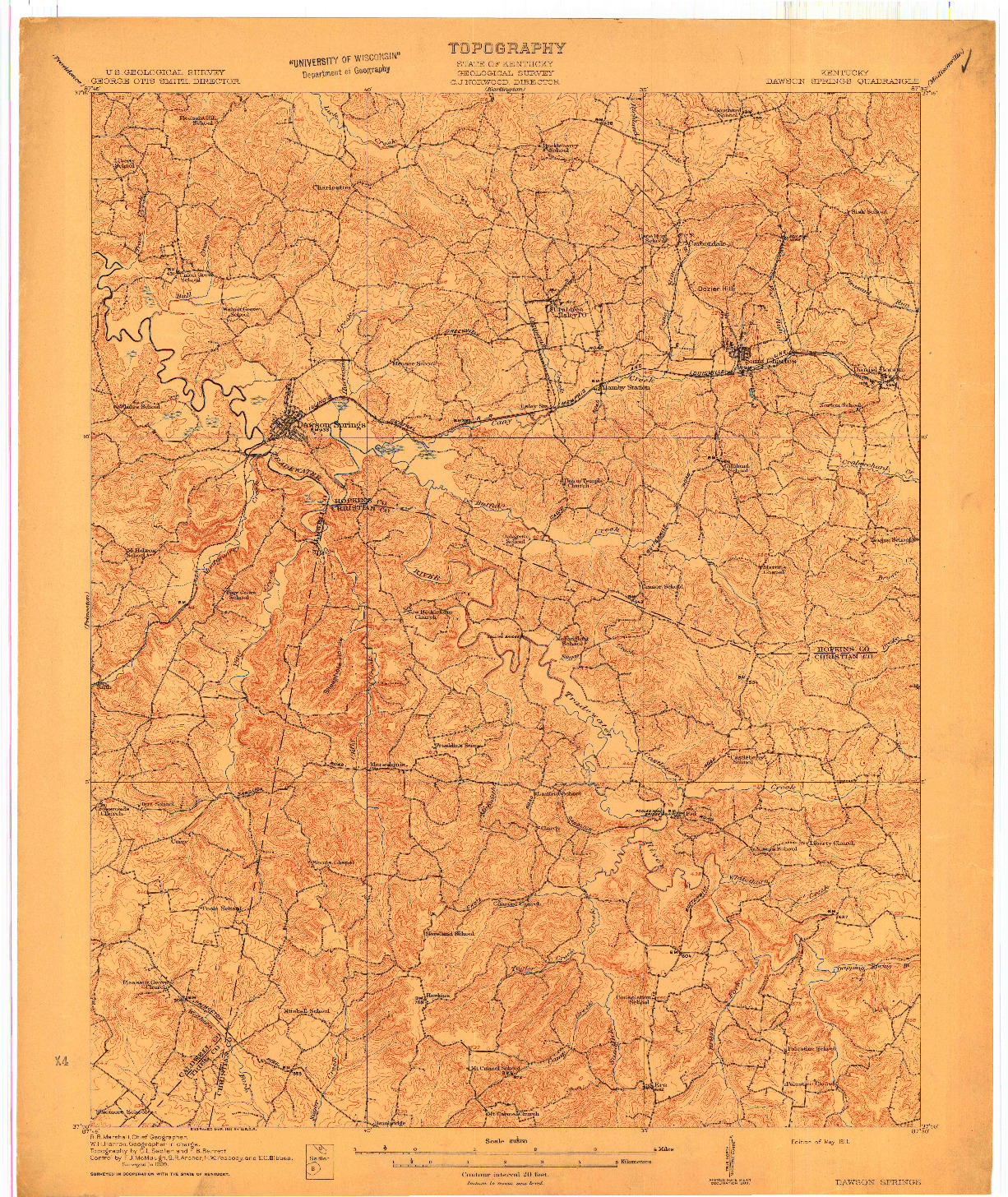 USGS 1:62500-SCALE QUADRANGLE FOR DAWSON SPRINGS, KY 1911