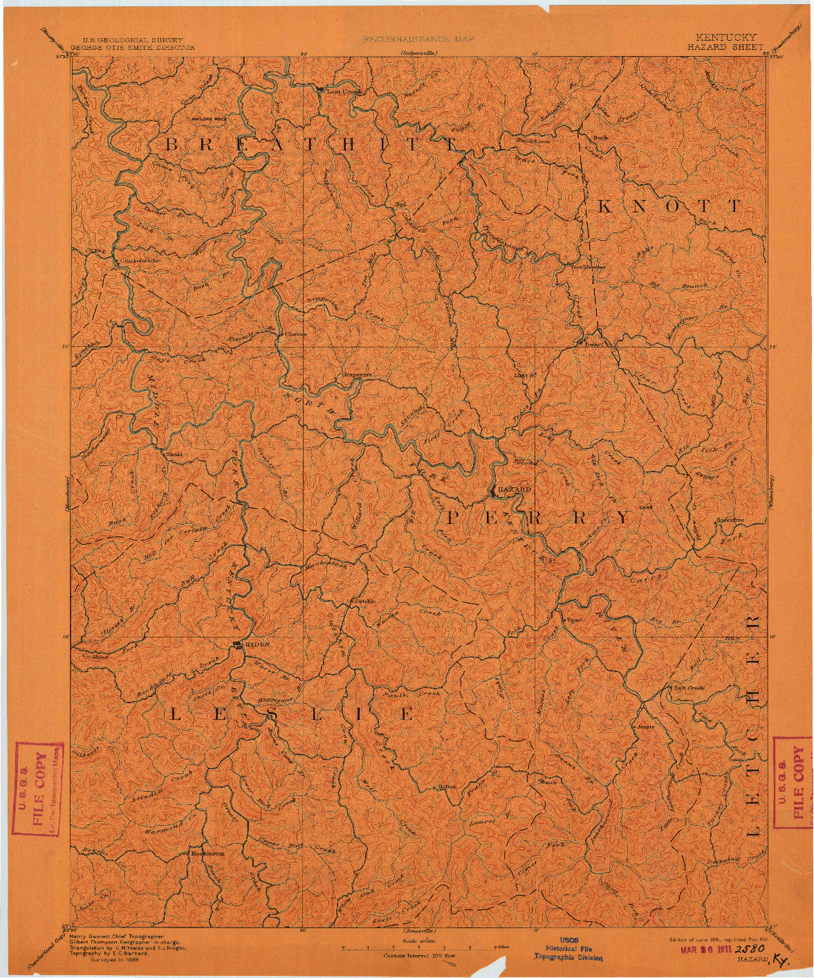USGS 1:125000-SCALE QUADRANGLE FOR HAZARD, KY 1891