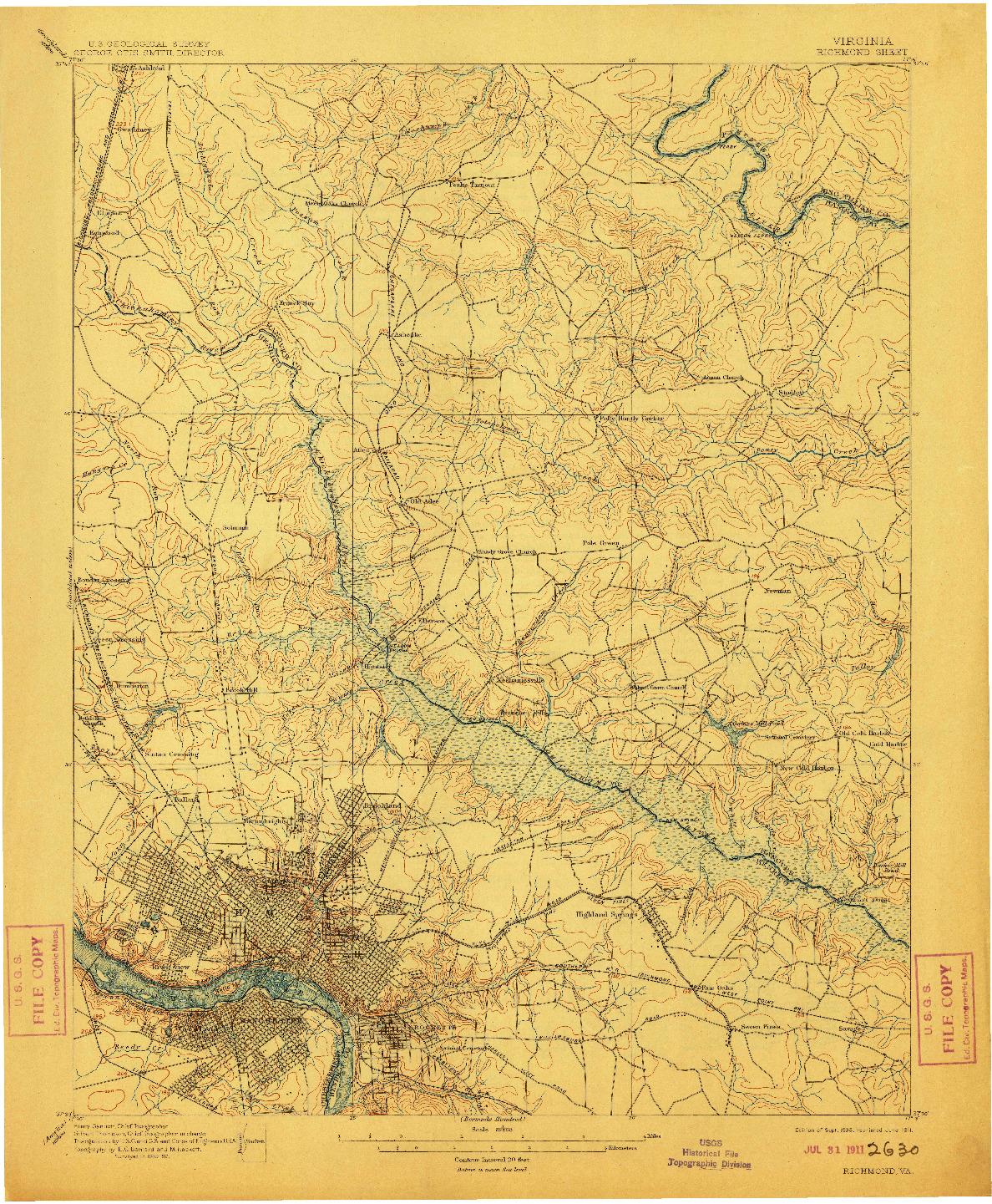 USGS 1:62500-SCALE QUADRANGLE FOR RICHMOND, VA 1895