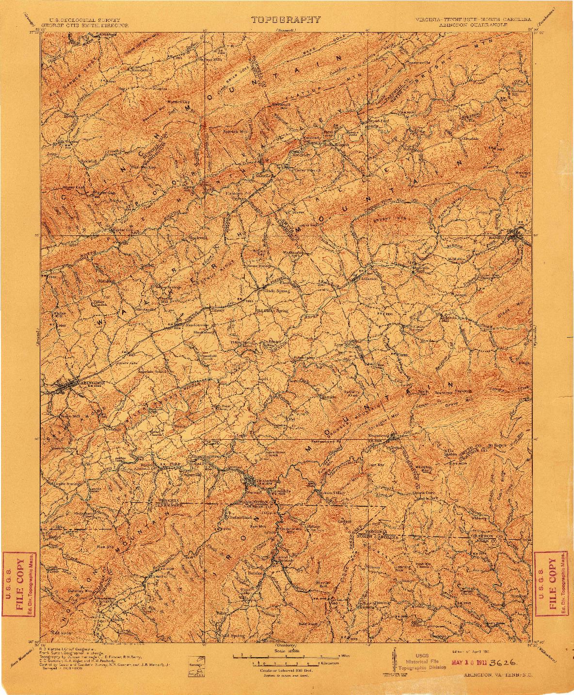 USGS 1:125000-SCALE QUADRANGLE FOR ABINGDON, VA 1911