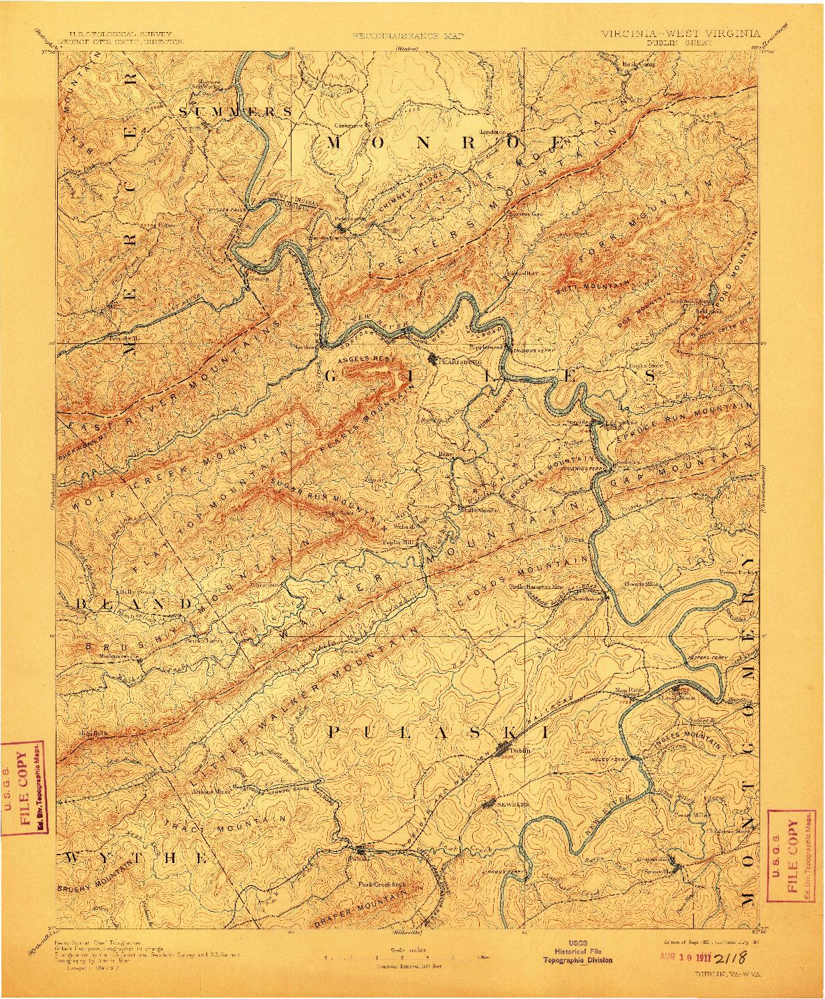 USGS 1:125000-SCALE QUADRANGLE FOR DUBLIN, VA 1891