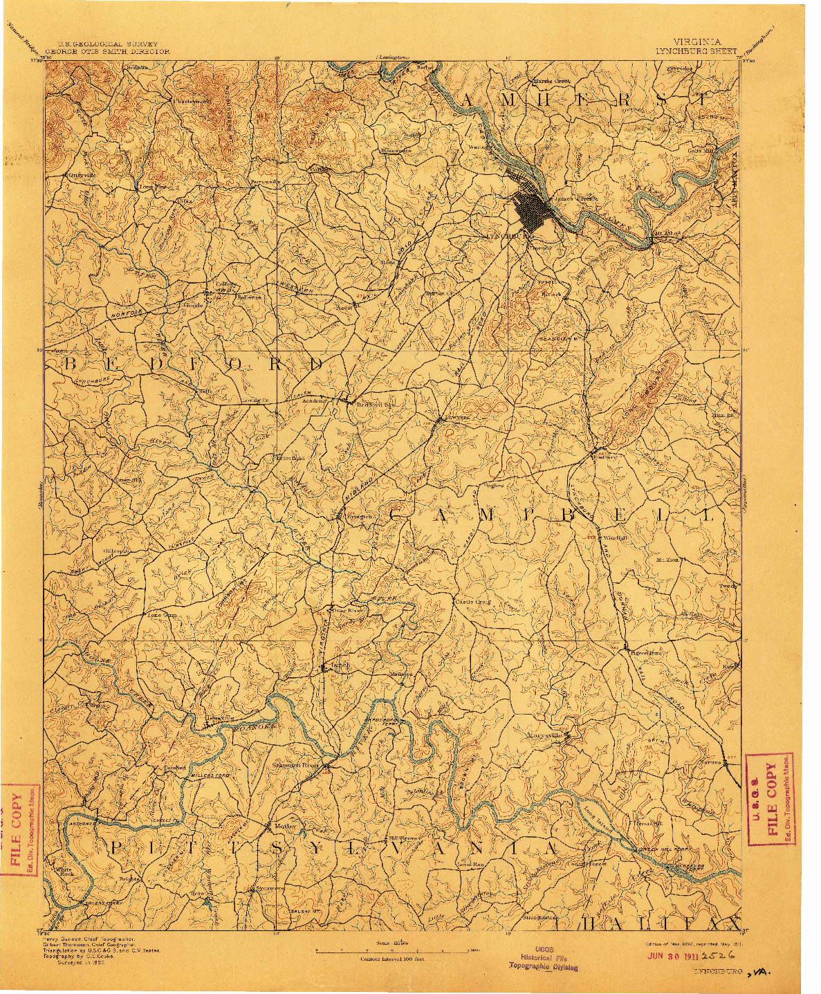 USGS 1:125000-SCALE QUADRANGLE FOR LYNCHBURG, VA 1892