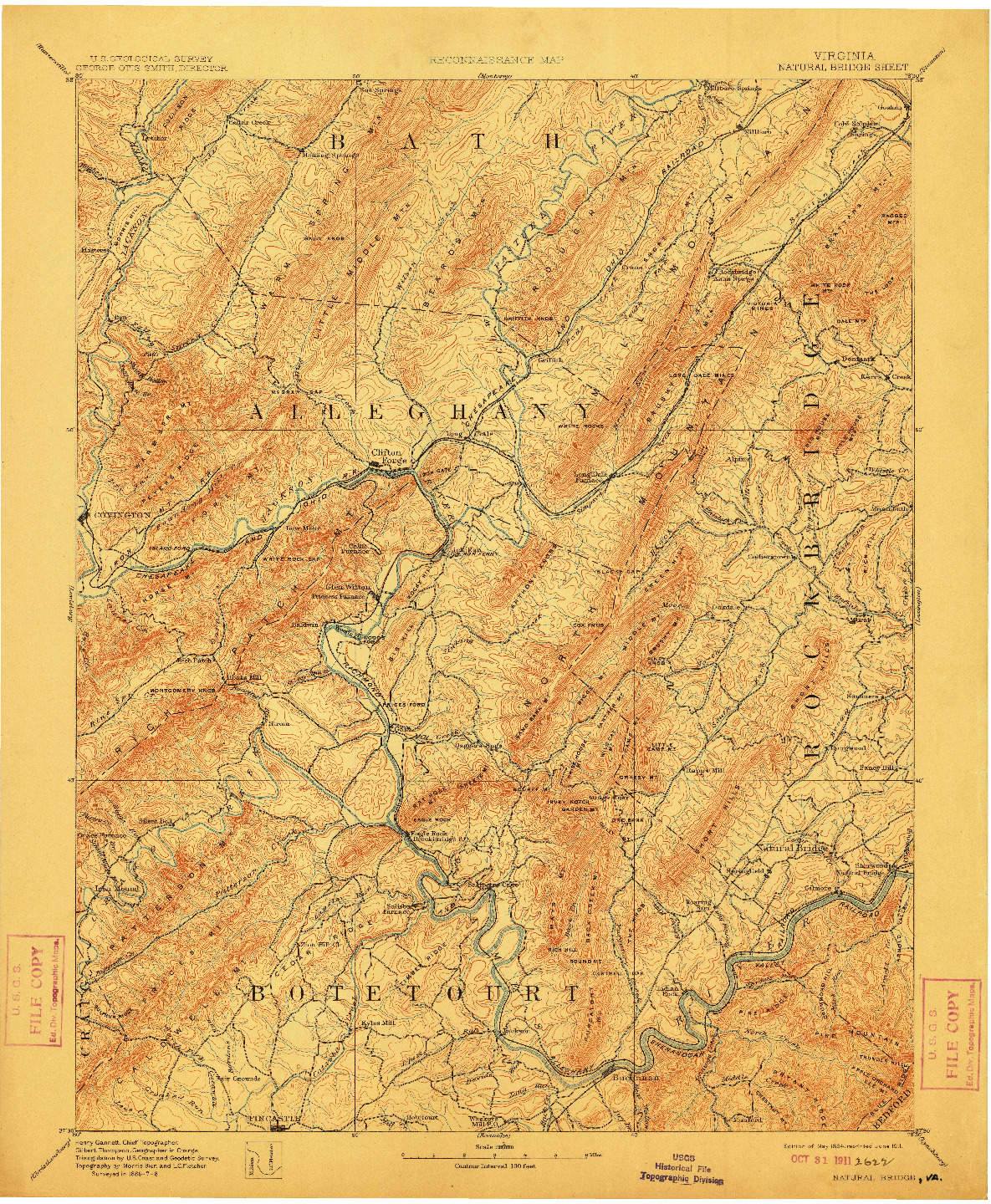 USGS 1:125000-SCALE QUADRANGLE FOR NATURAL BRIDGE, VA 1894