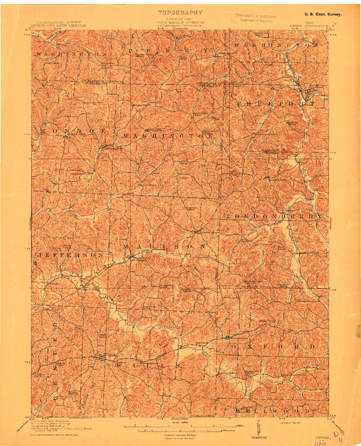 USGS 1:62500-SCALE QUADRANGLE FOR ANTRIM, OH 1911