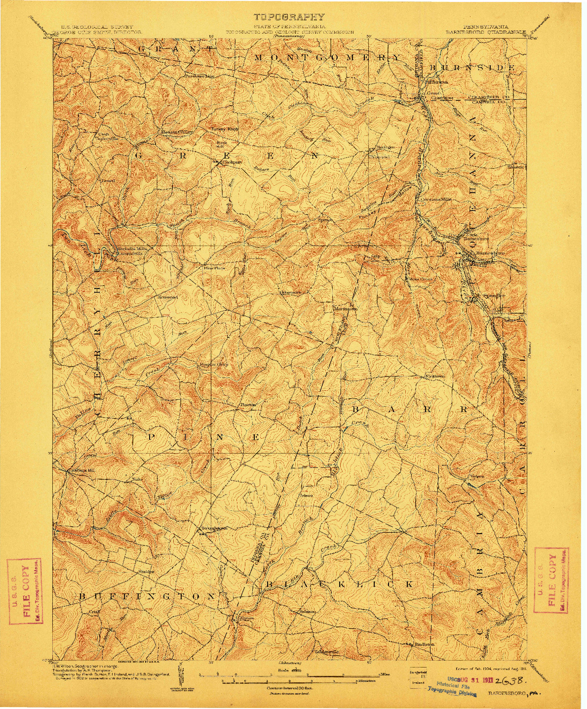 USGS 1:62500-SCALE QUADRANGLE FOR BARNESBORO, PA 1904