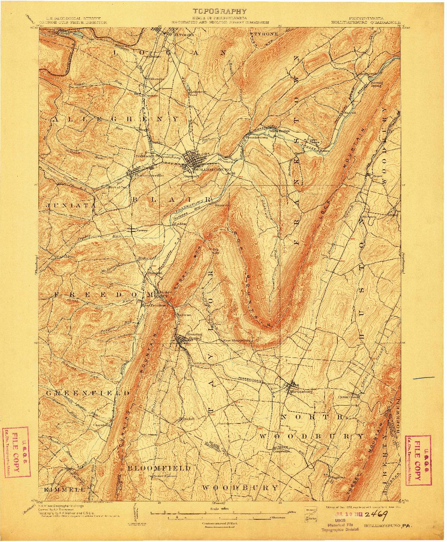 USGS 1:62500-SCALE QUADRANGLE FOR HOLLIDAYSBURG, PA 1903