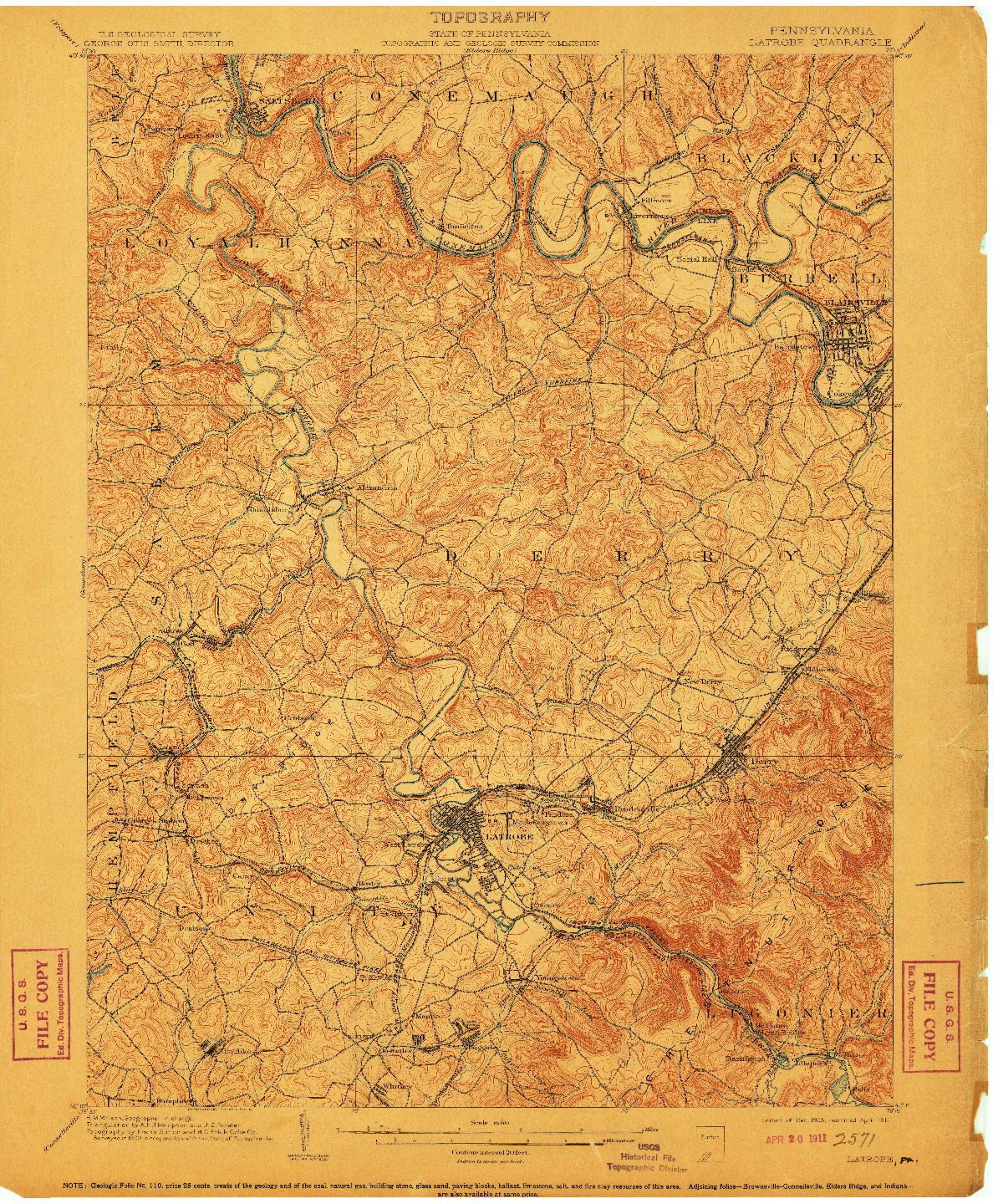 USGS 1:62500-SCALE QUADRANGLE FOR LATROBE, PA 1903