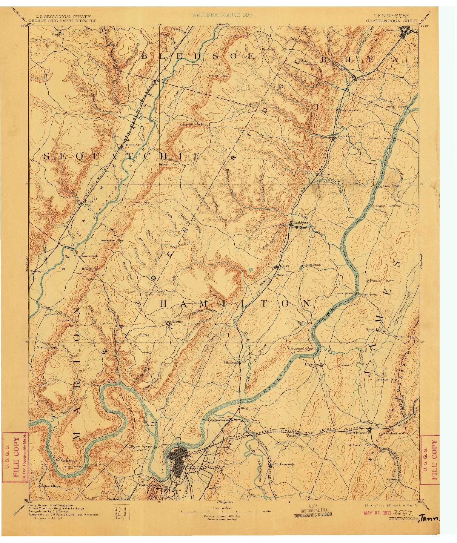 USGS 1:125000-SCALE QUADRANGLE FOR CHATTANOOGA, TN 1893