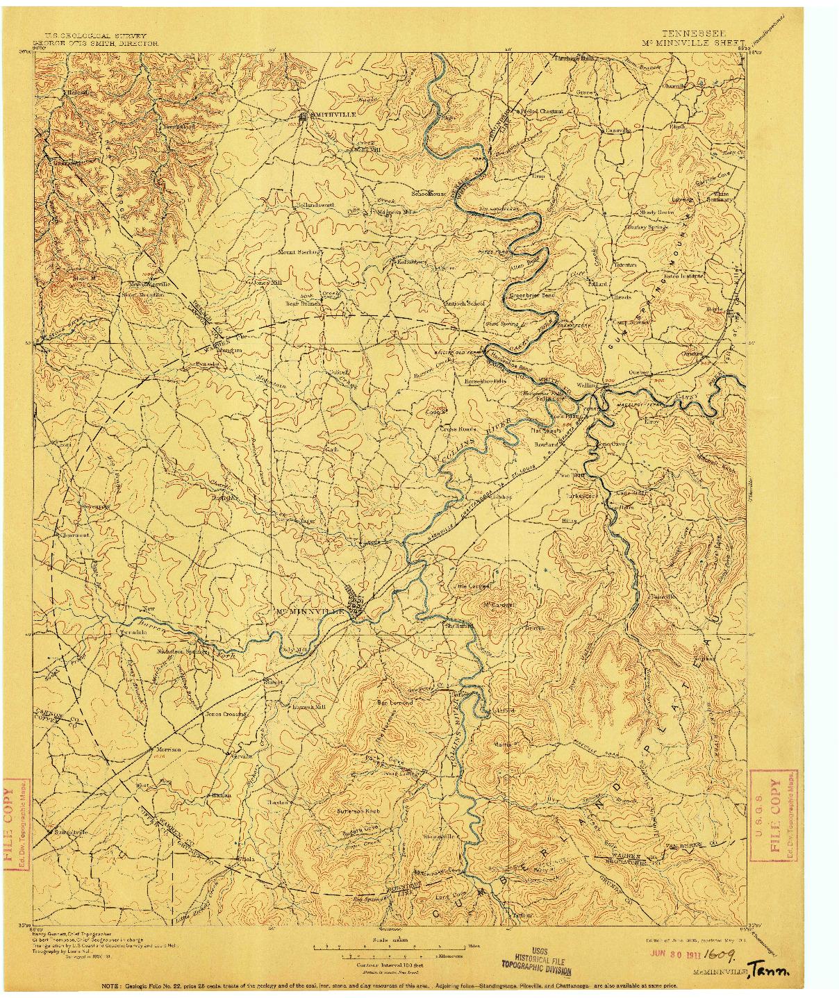 USGS 1:125000-SCALE QUADRANGLE FOR MC MINNVILLE, TN 1895