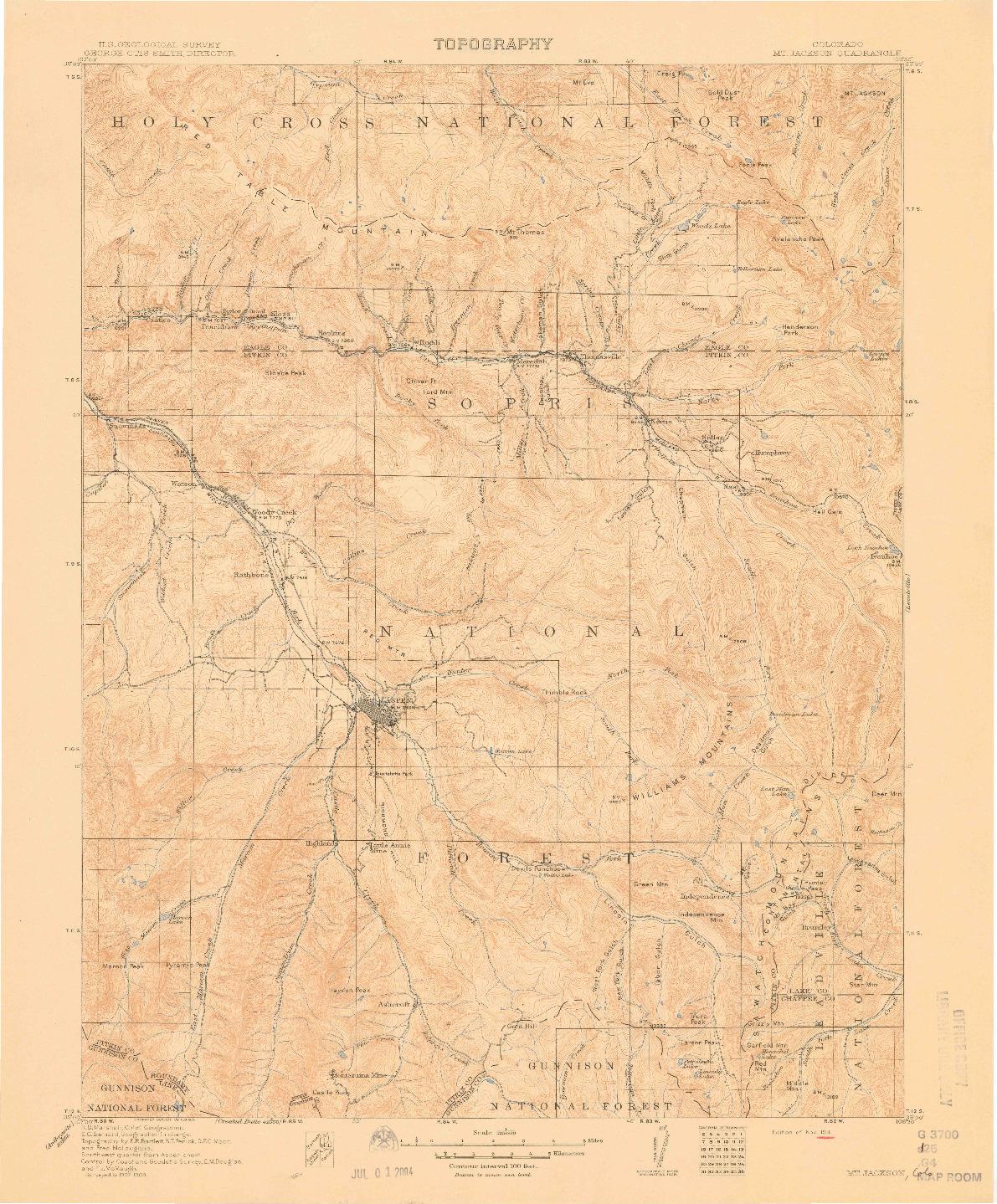 USGS 1:125000-SCALE QUADRANGLE FOR MOUNT JACKSON, CO 1911