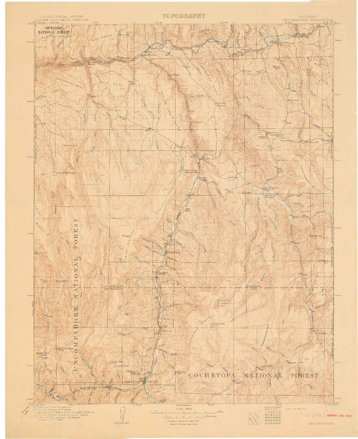 USGS 1:125000-SCALE QUADRANGLE FOR UNCOMPAHGRE, CO 1911