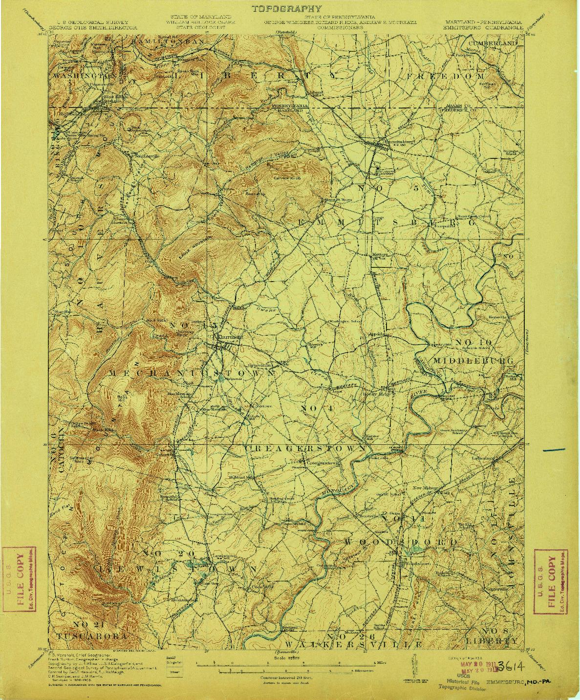 USGS 1:62500-SCALE QUADRANGLE FOR EMMITSBURG, MD 1911