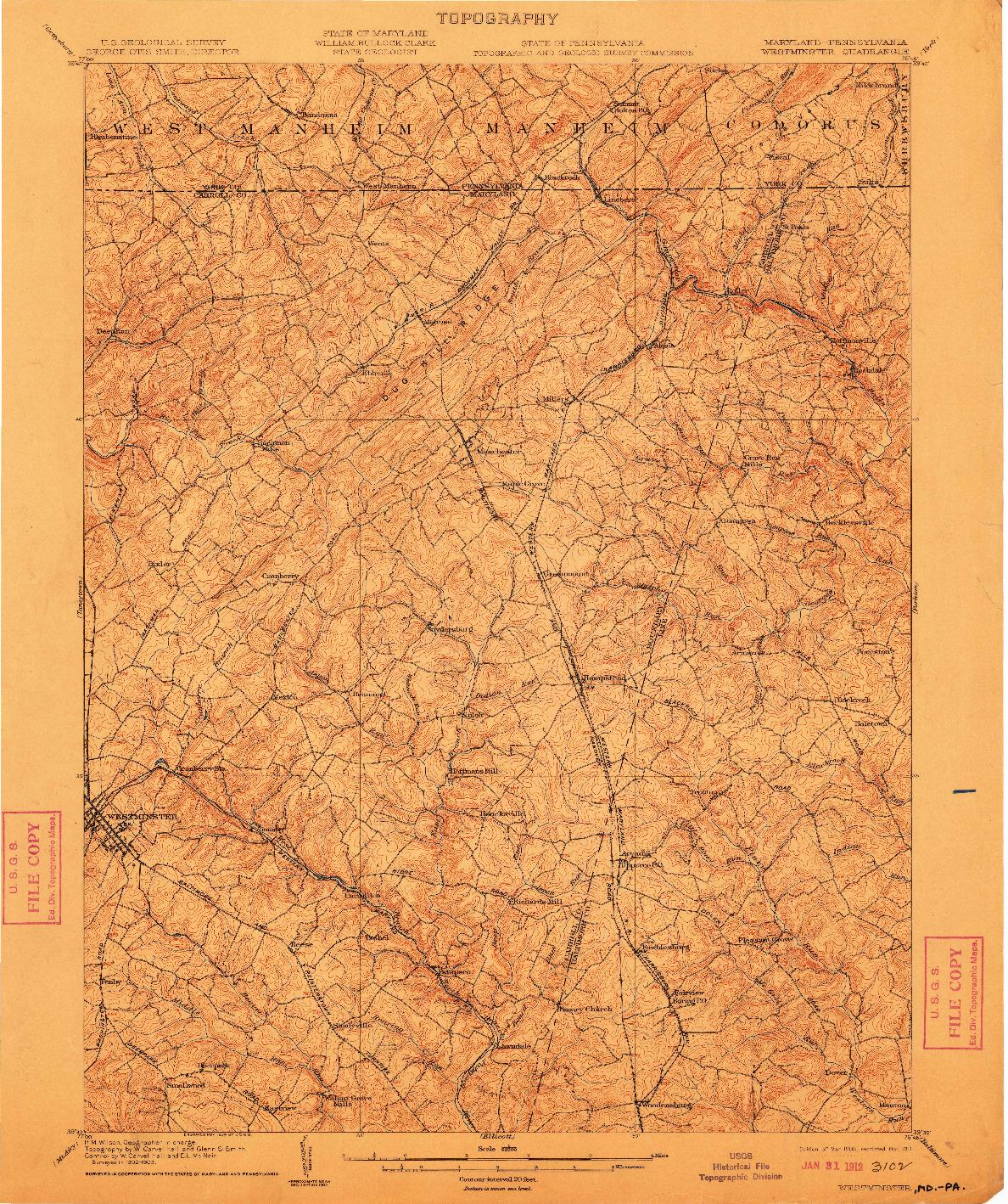USGS 1:62500-SCALE QUADRANGLE FOR WESTMINSTER, MD 1905