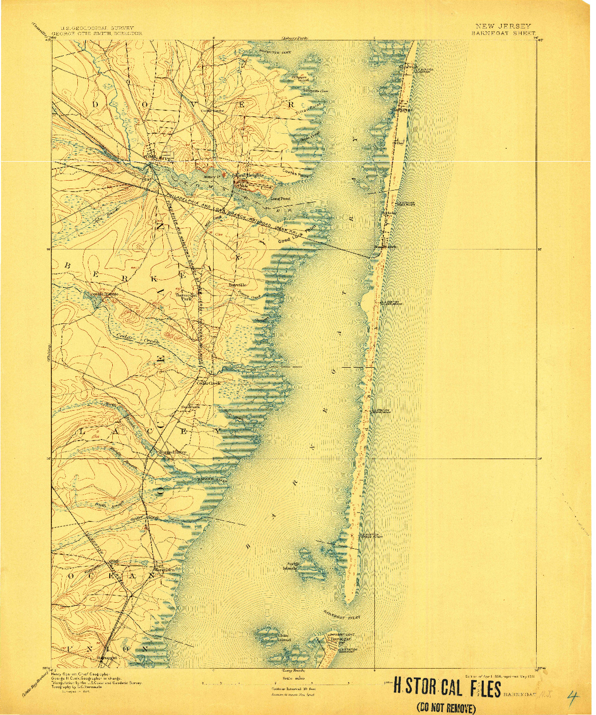 USGS 1:62500-SCALE QUADRANGLE FOR BARNEGAT, NJ 1898