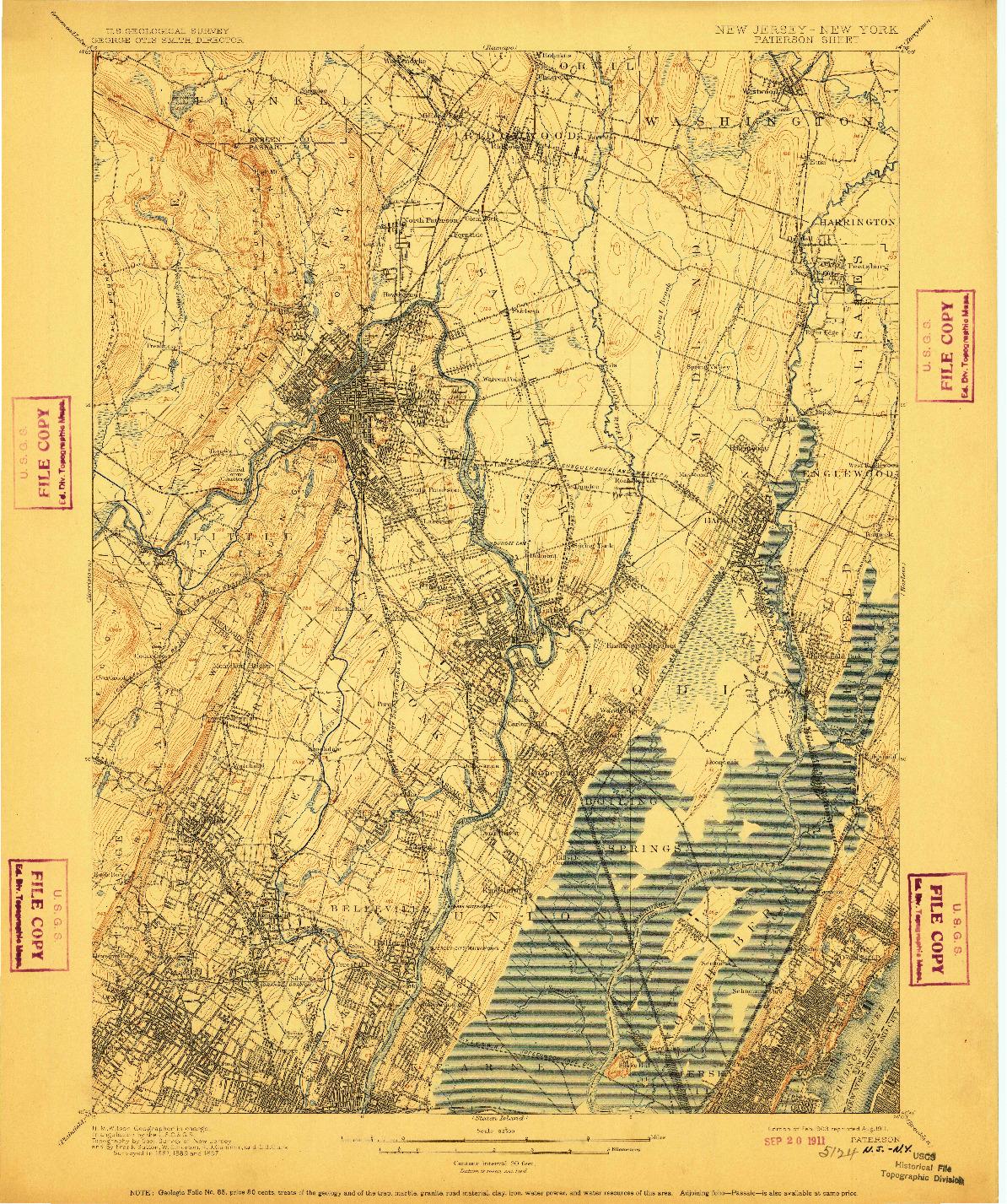 USGS 1:62500-SCALE QUADRANGLE FOR PATERSON, NJ 1903
