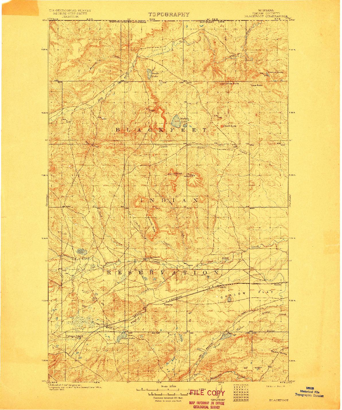 USGS 1:125000-SCALE QUADRANGLE FOR BLACKFOOT, MT 1911
