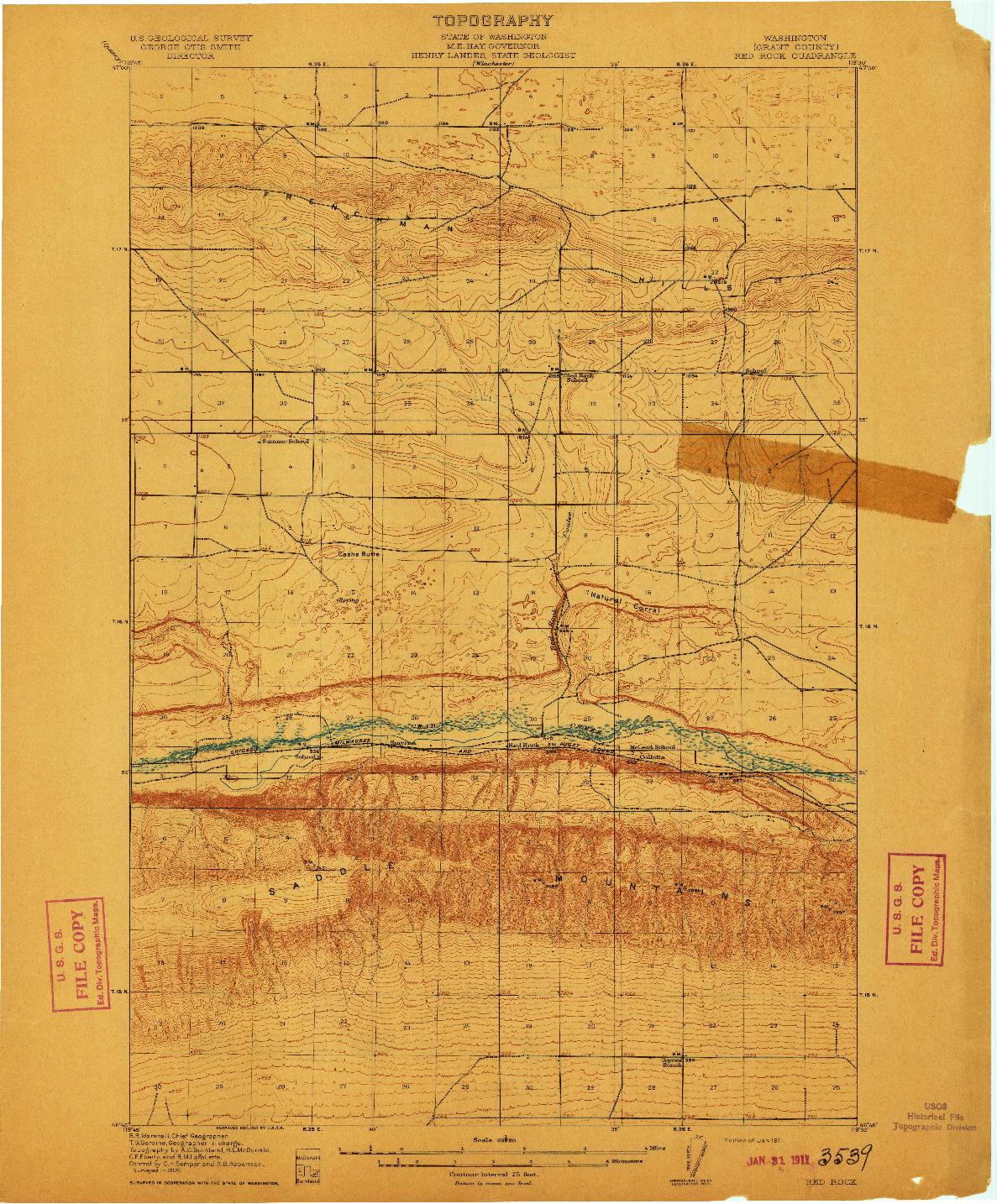 USGS 1:62500-SCALE QUADRANGLE FOR RED ROCK, WA 1911