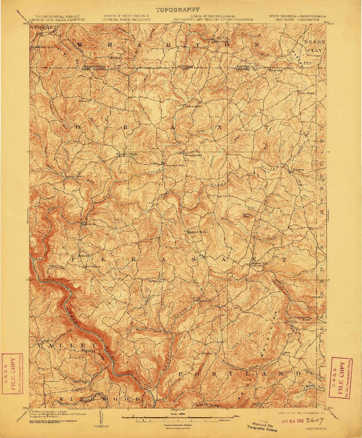 USGS 1:62500-SCALE QUADRANGLE FOR BRUCETON, WV 1904