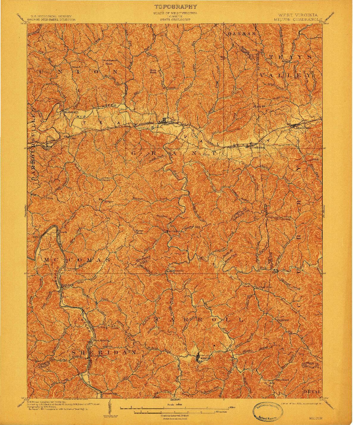 USGS 1:62500-SCALE QUADRANGLE FOR MILTON, WV 1902