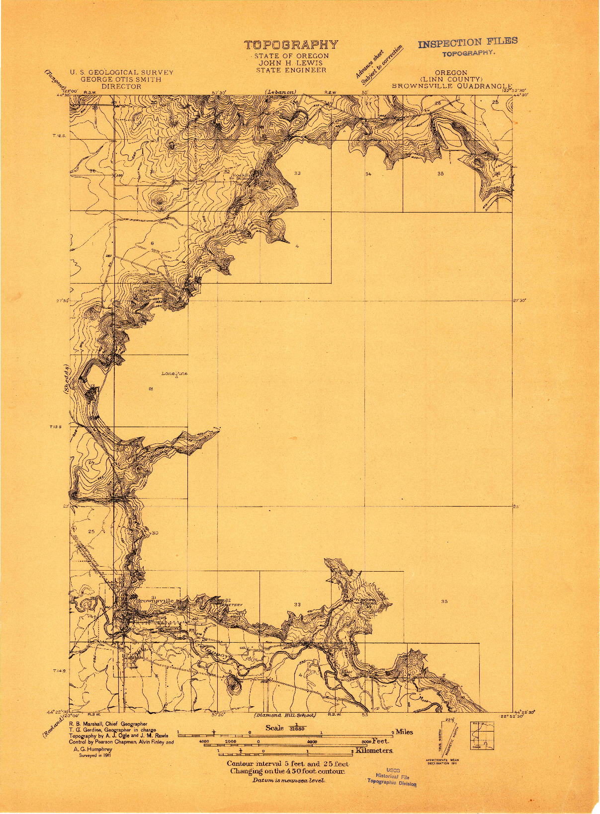 USGS 1:31680-SCALE QUADRANGLE FOR BROWNSVILLE, OR 1911