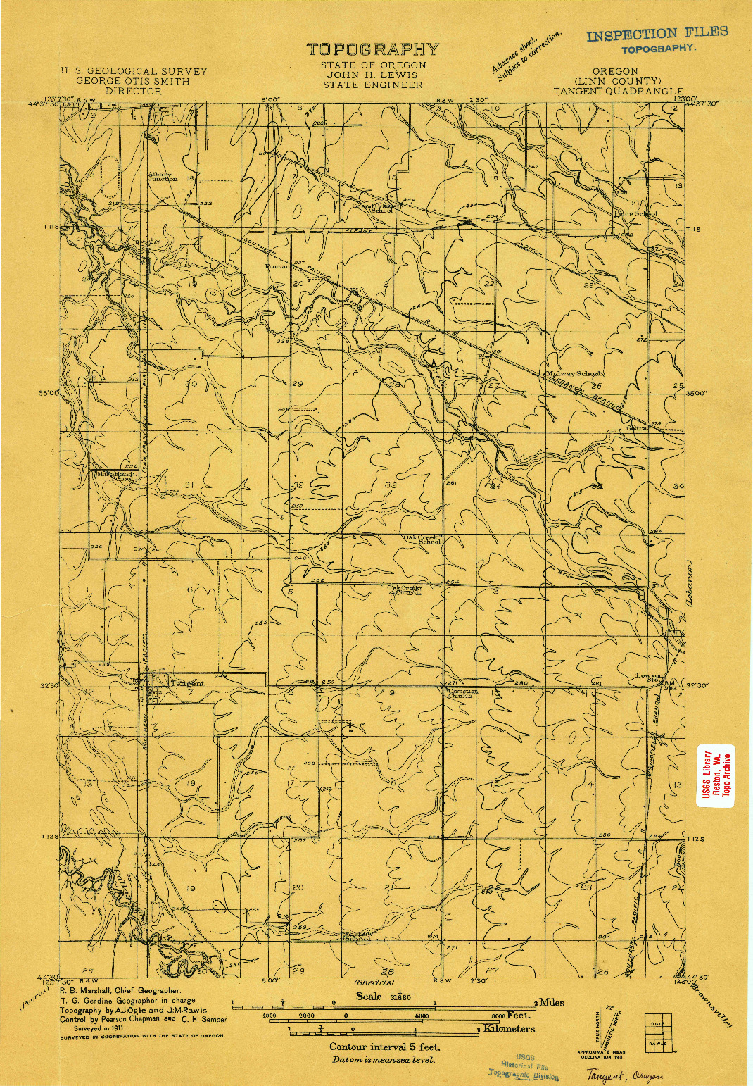 USGS 1:31680-SCALE QUADRANGLE FOR TANGENT, OR 1911