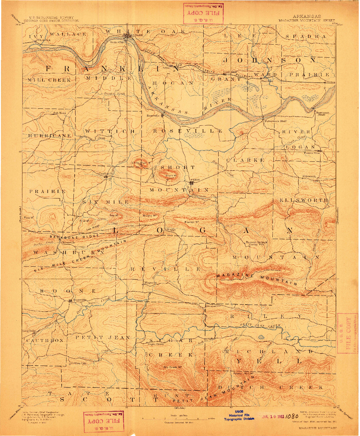 USGS 1:125000-SCALE QUADRANGLE FOR MAGAZINE MOUNTAIN, AR 1890