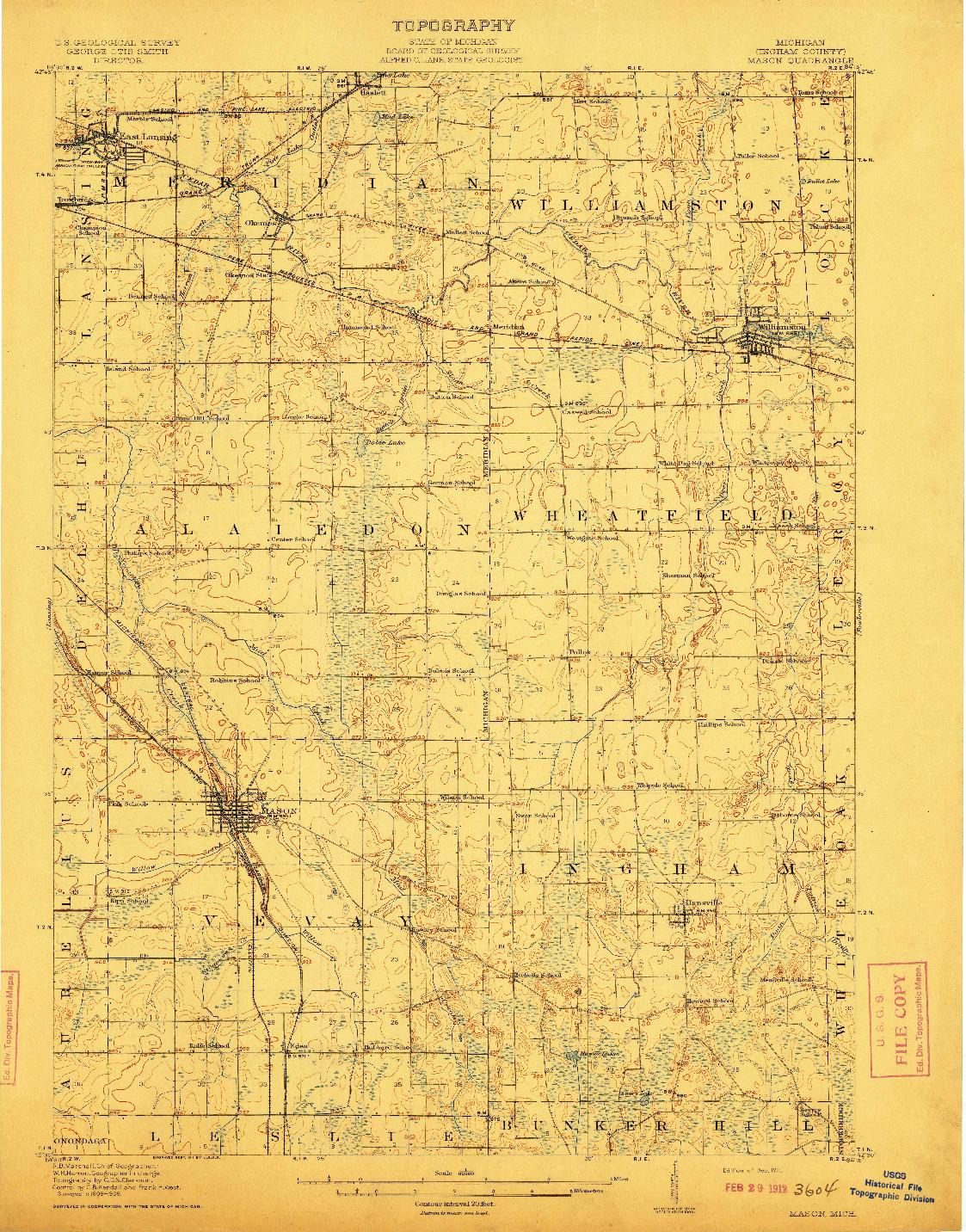 USGS 1:62500-SCALE QUADRANGLE FOR MASON, MI 1911