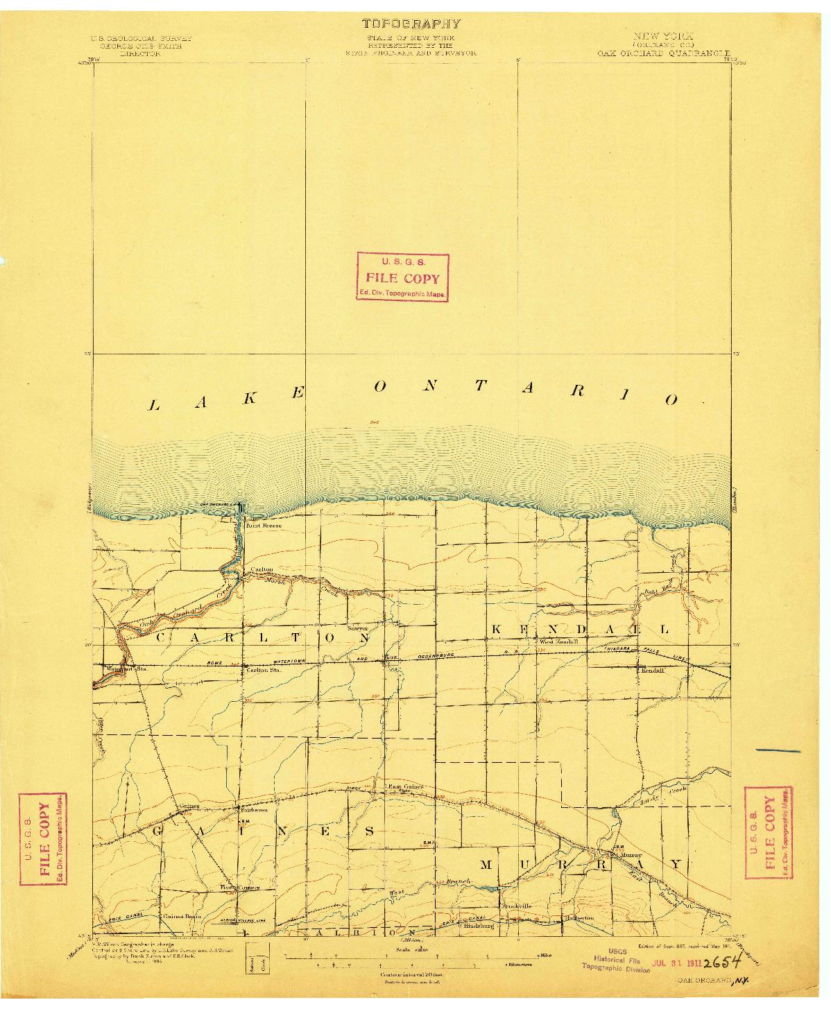 USGS 1:62500-SCALE QUADRANGLE FOR OAK ORCHARD, NY 1897