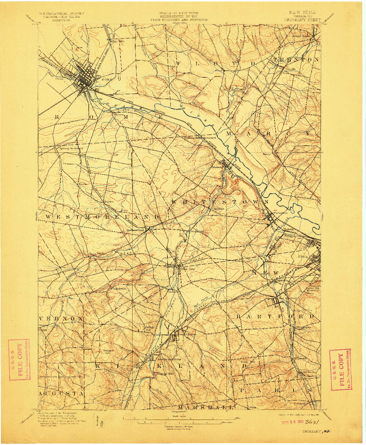USGS 1:62500-SCALE QUADRANGLE FOR ORISKANY, NY 1898