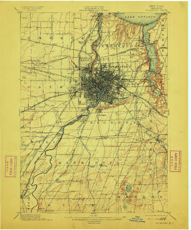 USGS 1:62500-SCALE QUADRANGLE FOR ROCHESTER, NY 1898