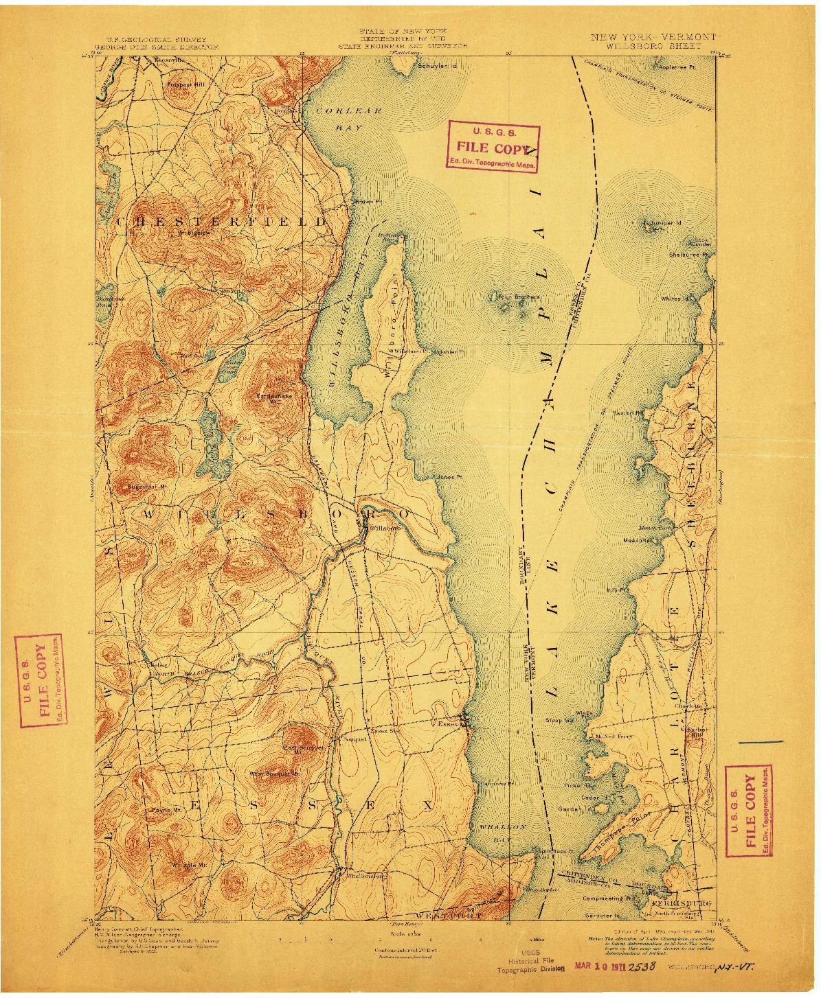 USGS 1:62500-SCALE QUADRANGLE FOR WILLSBORO, NY 1895