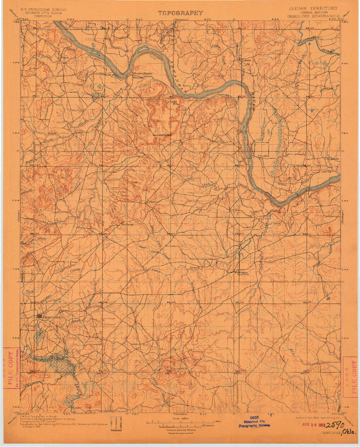 USGS 1:125000-SCALE QUADRANGLE FOR OKMULGEE, IT 1900