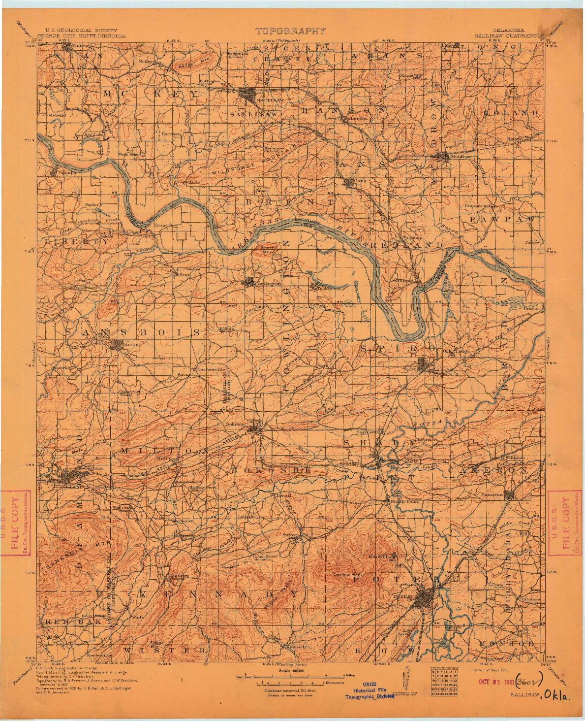 USGS 1:125000-SCALE QUADRANGLE FOR SALLISAW, OK 1911