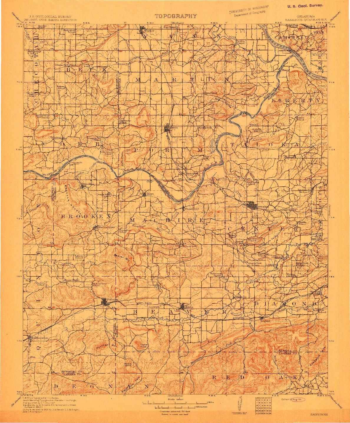 USGS 1:125000-SCALE QUADRANGLE FOR SANSBOIS, OK 1911