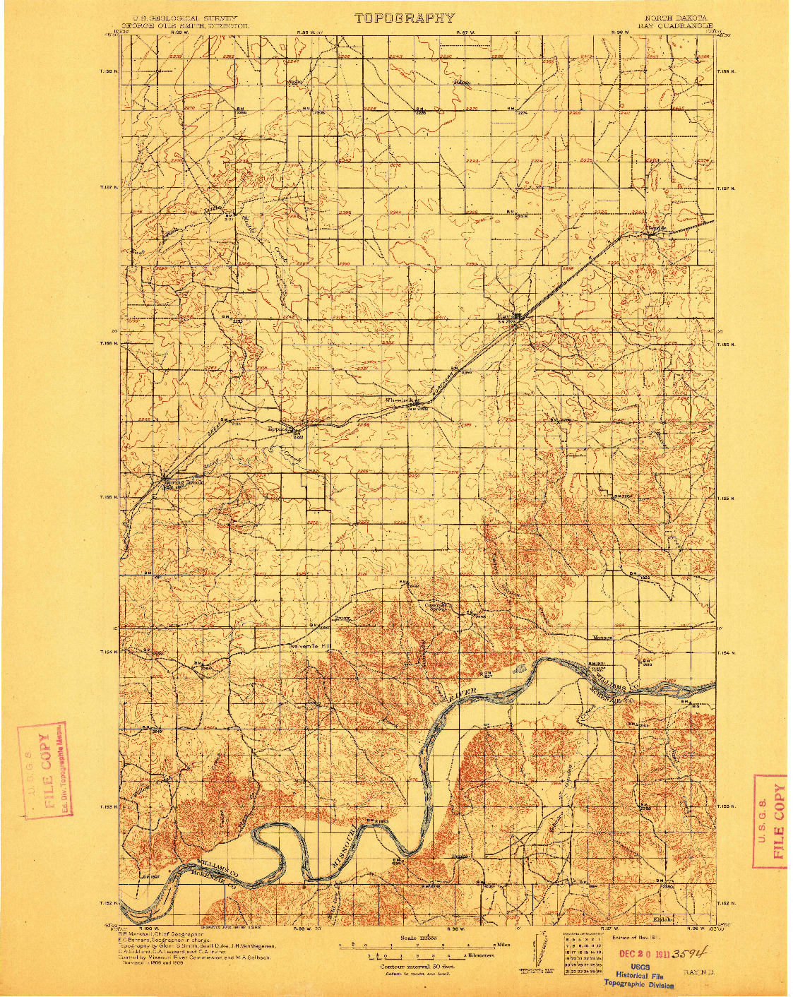 USGS 1:125000-SCALE QUADRANGLE FOR RAY, ND 1911