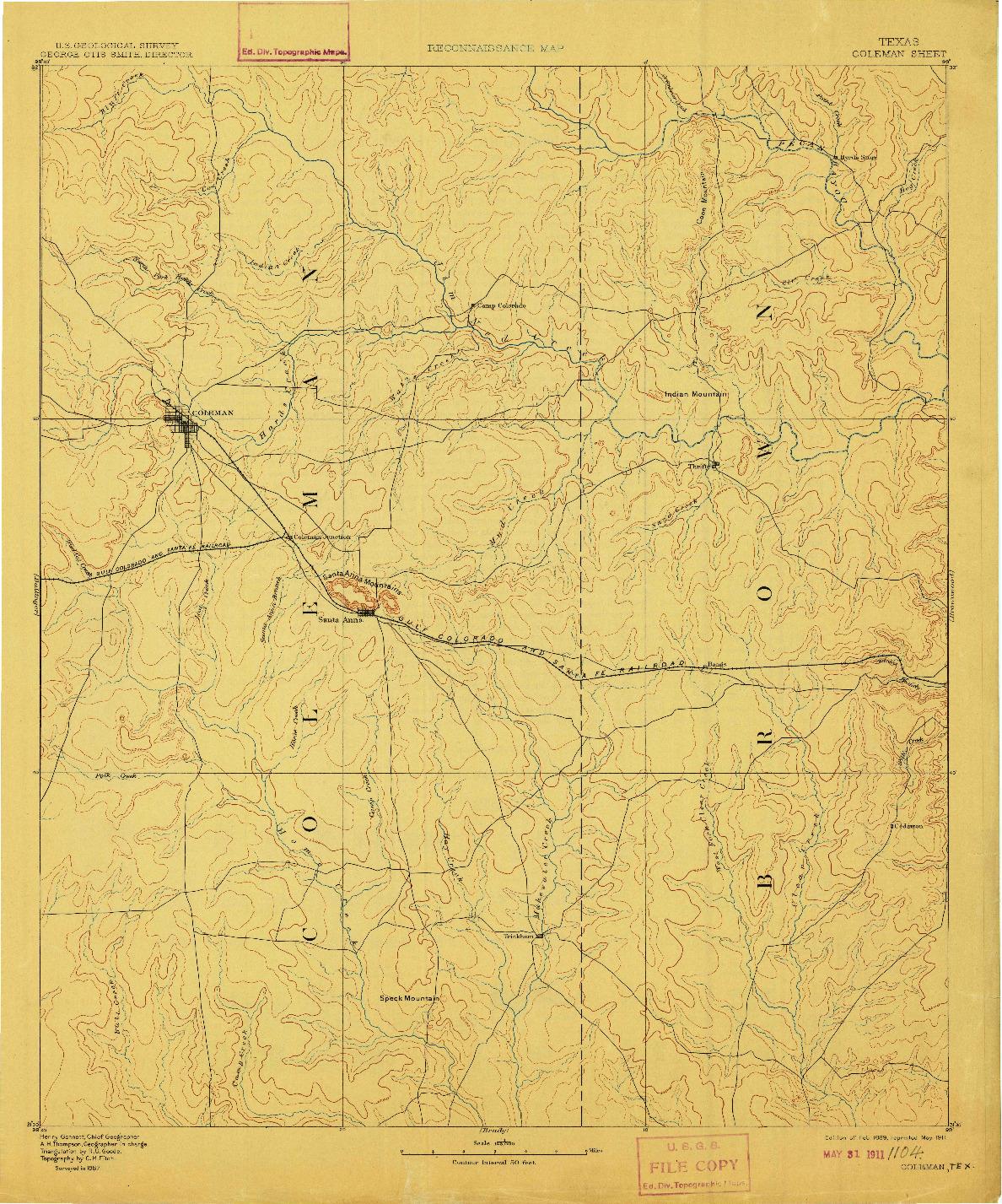 USGS 1:125000-SCALE QUADRANGLE FOR COLEMAN, TX 1889