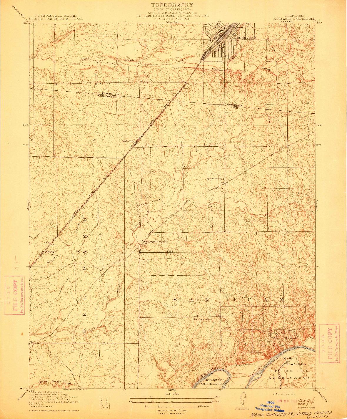 USGS 1:31680-SCALE QUADRANGLE FOR ANTELOPE, CA 1911