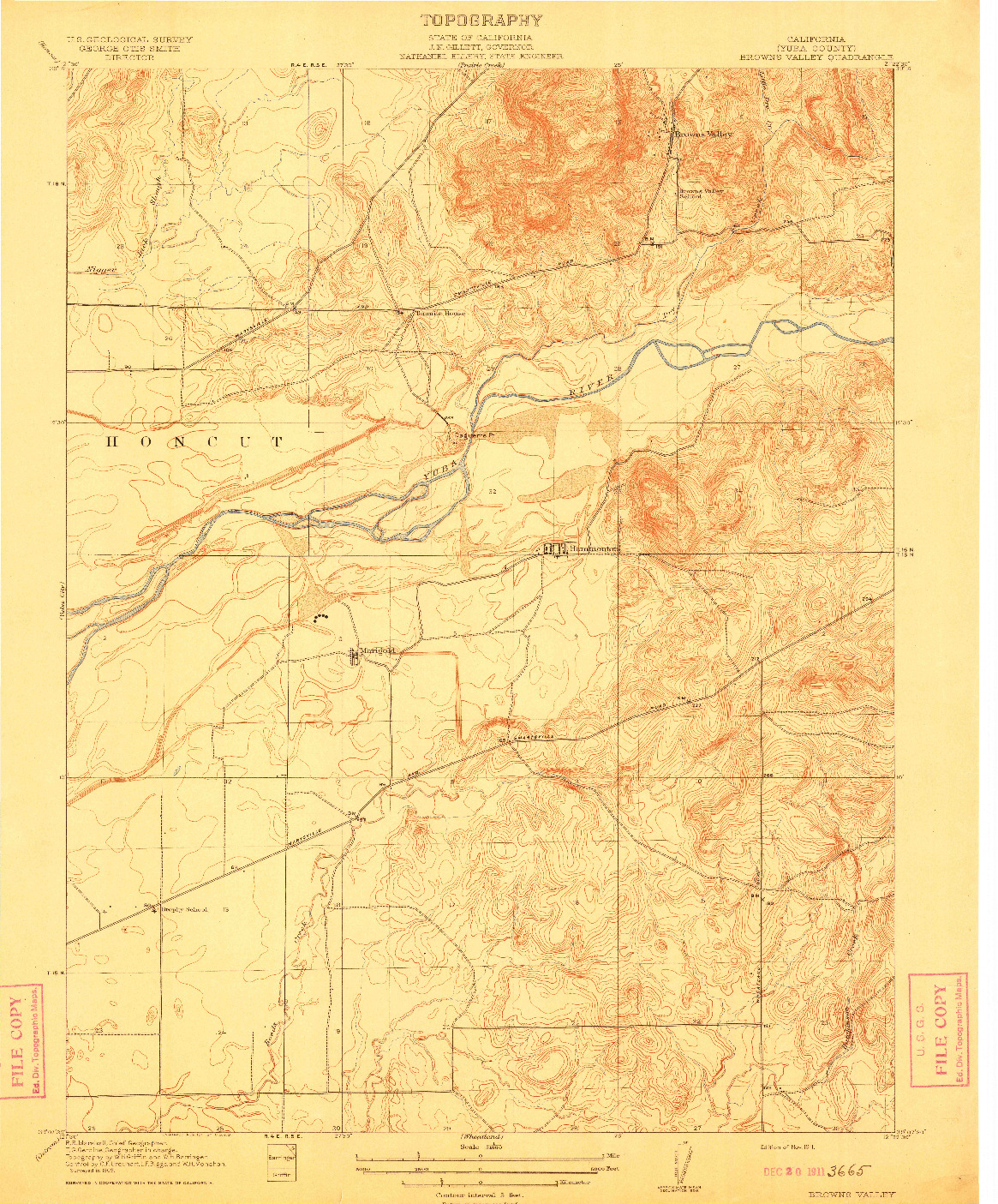 USGS 1:31680-SCALE QUADRANGLE FOR BROWNS VALLEY, CA 1911