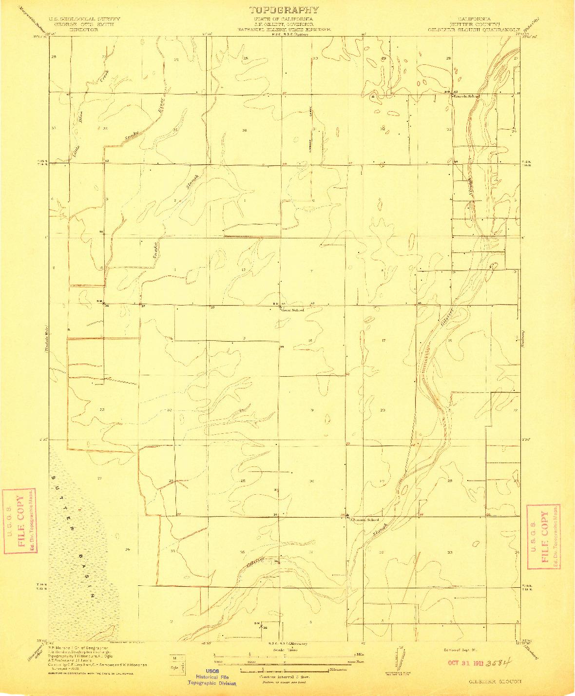 USGS 1:31680-SCALE QUADRANGLE FOR GILSIZER SLOUGH, CA 1911