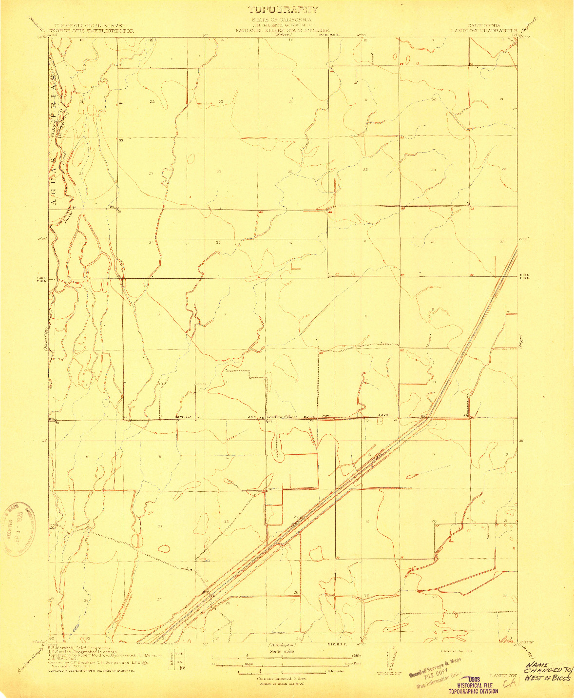 USGS 1:31680-SCALE QUADRANGLE FOR LANDLOW, CA 1911