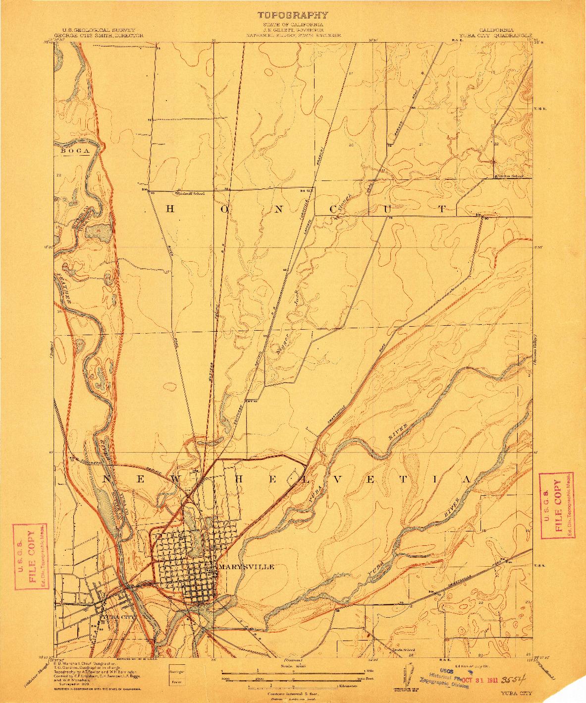 USGS 1:31680-SCALE QUADRANGLE FOR YUBA CITY, CA 1911