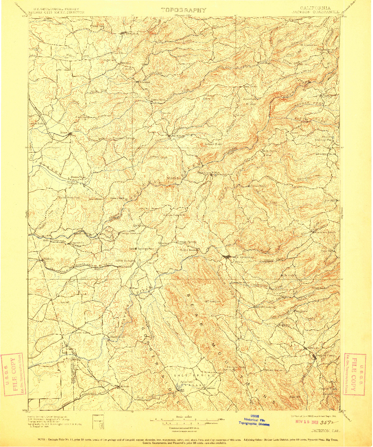 USGS 1:125000-SCALE QUADRANGLE FOR JACKSON, CA 1902